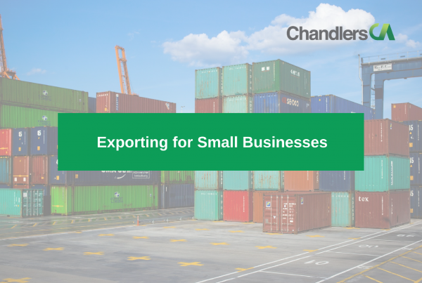 Guide to exporting to small businesses showing shipping containers