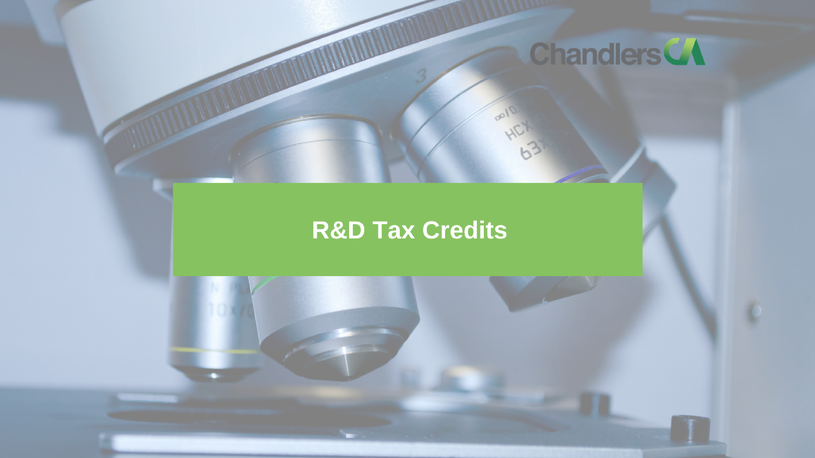 Guide to R and D tax credits for smes showing a microscope
